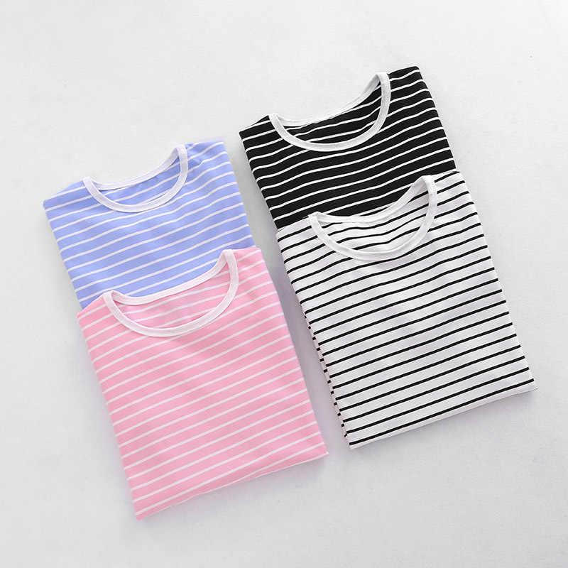 Хлопковые футболки с длинными рукавами для детей от 2 до 12 лет базовые футболки в полоску для мальчиков и девочек, Детская осенняя одежда, футболка, свитер