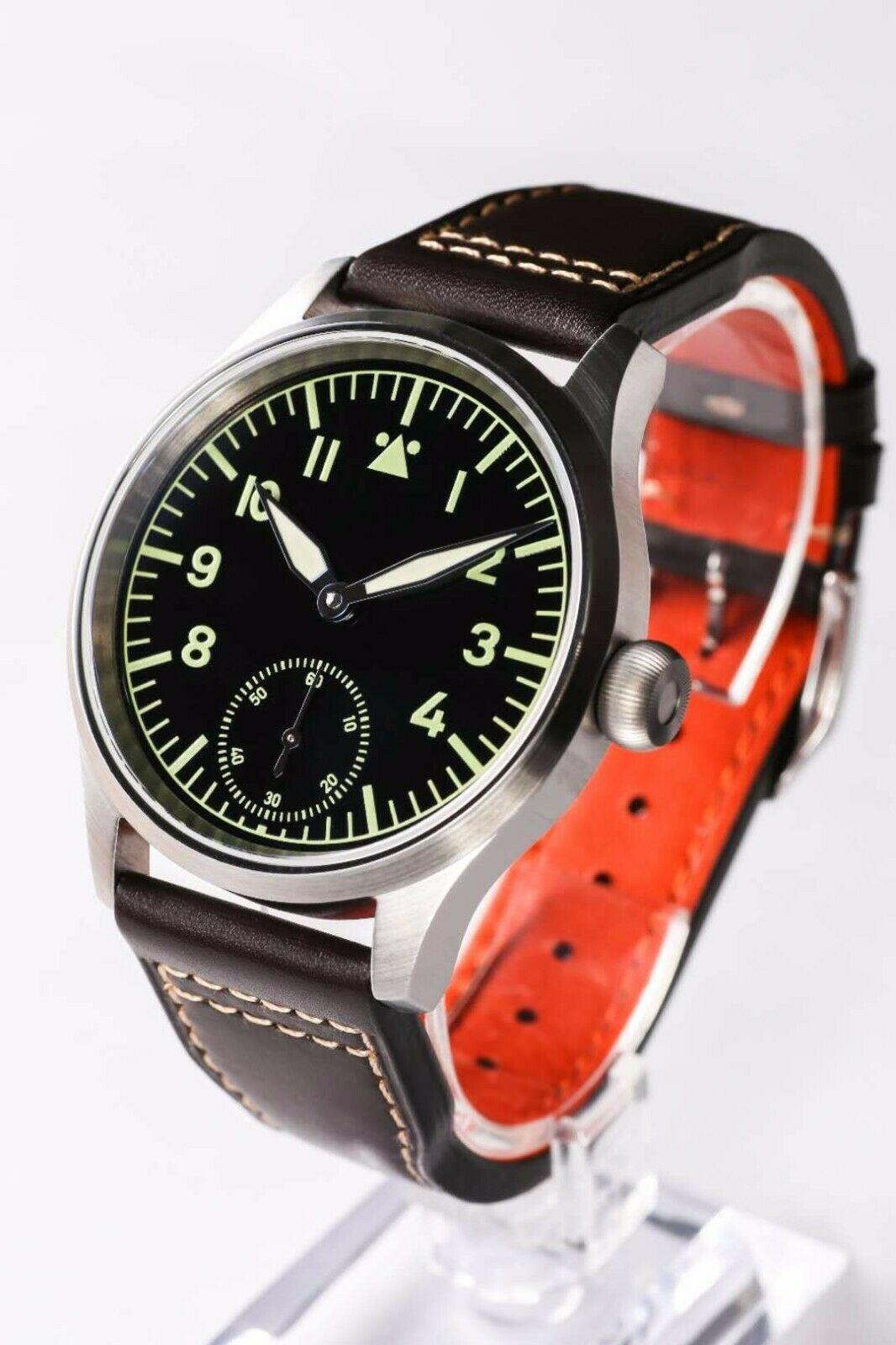 Eta6497 B-Uhr Flieger Pilot Watch Mens hand winding  Heat BLue handsEta6497 B-Uhr Flieger Pilot Watch Mens hand winding  Heat BLue hands