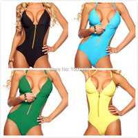 2015 Black Blue Yellow Green One Piece Swimsuit Sexy Swimwear Women Backless Strap Bathing Suits Zipper