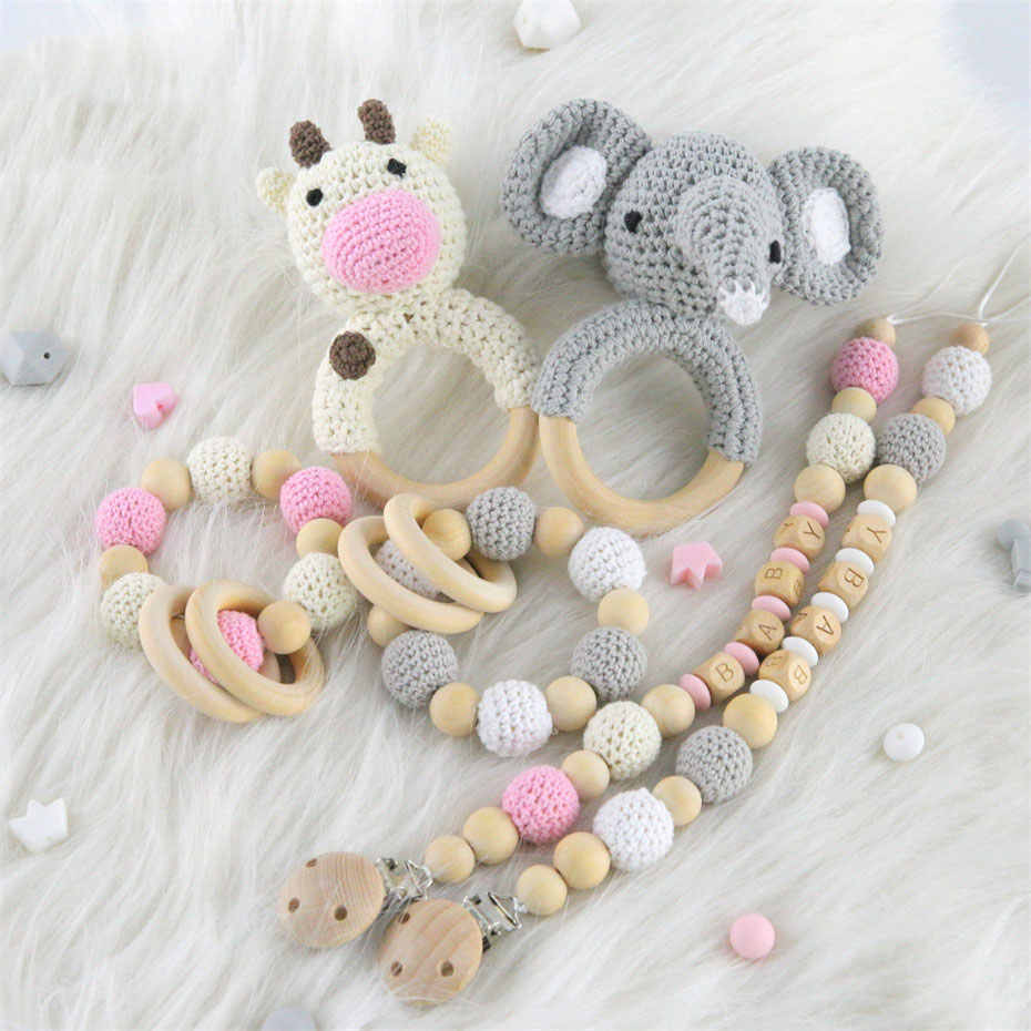 Детский Прорезыватель детские погремушки Amigurumi Animal Crochet Wood RringGums ручная погремушка забавные детские товары поделки игрушки для прорезывания зубов