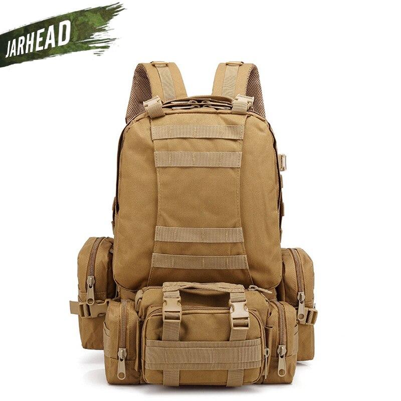Sac à dos tactique 50L 4 en 1 sacs militaires sac à dos d'armée sac de Sport en plein air Molle hommes Camping randonnée sac à dos de Camouflage 600D