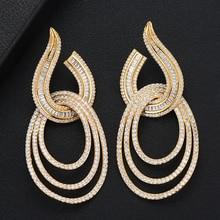 GODKI Luxury Water Drop Long Dangle Earrings For Women Wedding Cubic Zircon Crystal CZ Dubai Bridal Earring Fashion Jewelry 2019
