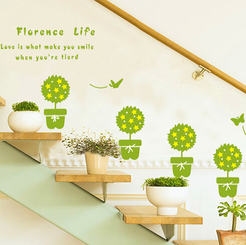 35f541798 صبار بونساي بوعاء النباتات الخضراء فراشة ملصقات الحائط نافذة زجاج الحمام  الشارات الجدار الحدودي جدارية ديكور