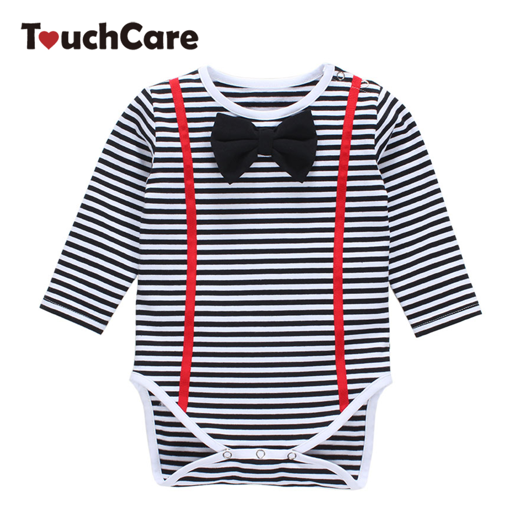 Newborn Bow Tie Baby Boy Girl Romper Soft Cotton Long Sleeve Baby Rompers O-neck Casual Toddler Clothes Stripe Infant Jumpsuit baby rompers o neck 100