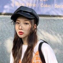 PU Leather Octagonal cap Women Autumn And Winter cap casual beret Hat Artist painter cap for 90 Girls