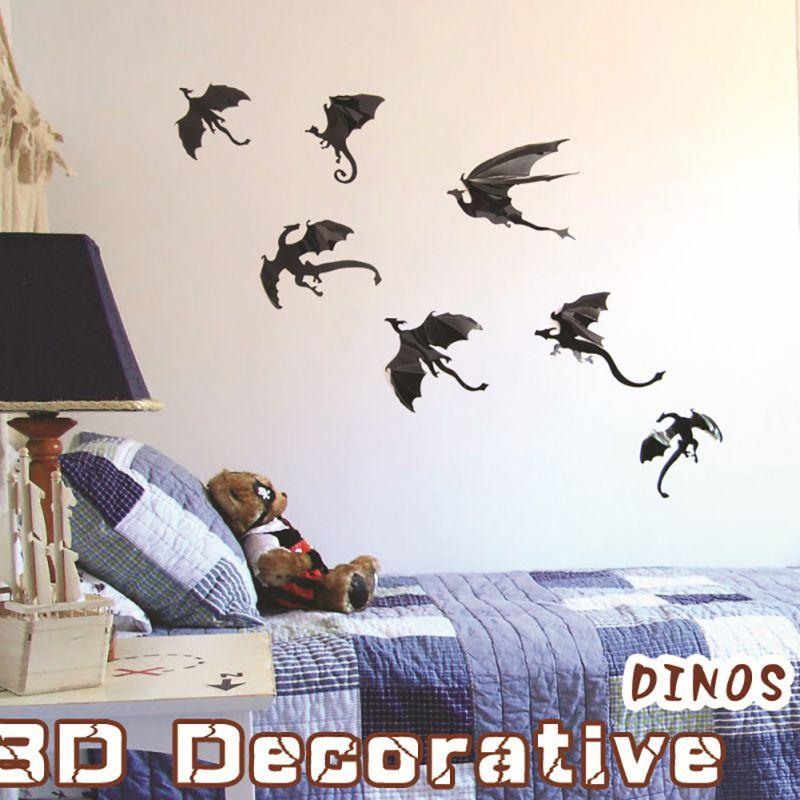 Fantasy 7pcs/lot Halloween Rooms Fun life Game of Decor Dinosaurs Boys Thrones Inspired 3D Dragon Wall Art Dragon Silhouettes