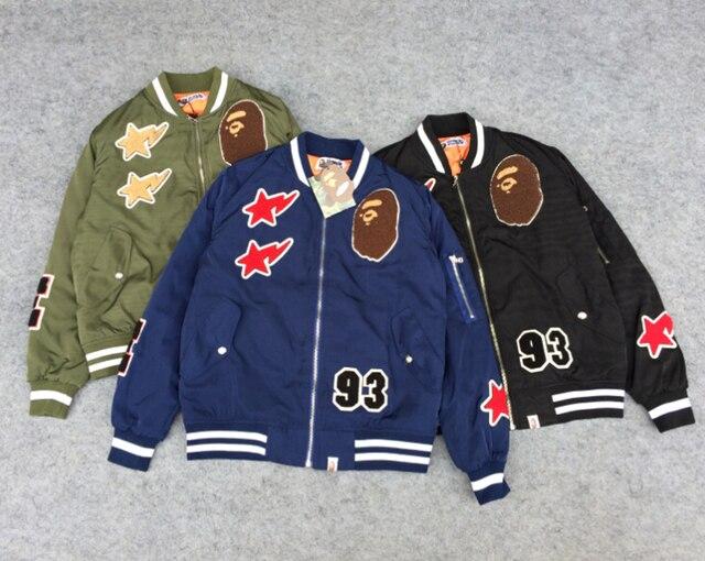 9d651e81e7e2 Highest quality fashion style Bape jacket men bomber jacket winter coat men  baseball jacket Outwear yeezus letterman jacket