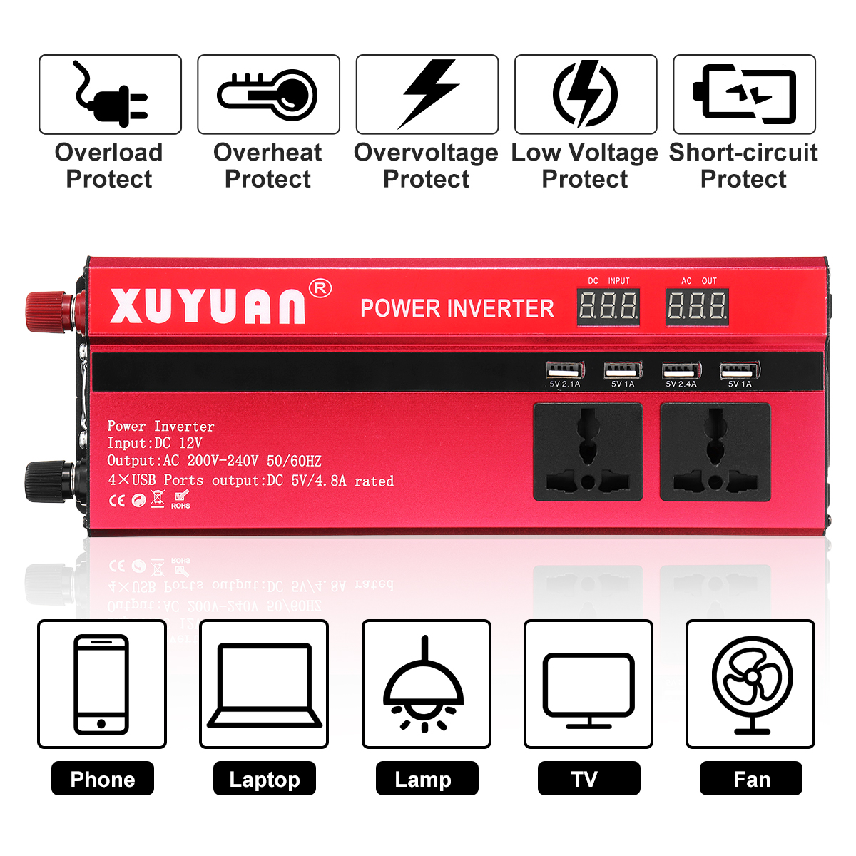 цена на Car Power Inverter 12V 220V 5000W 4000W 3000W Peak Sine Wave Solar Inverter 12V 220V Voltage Transformer Converter 5000W