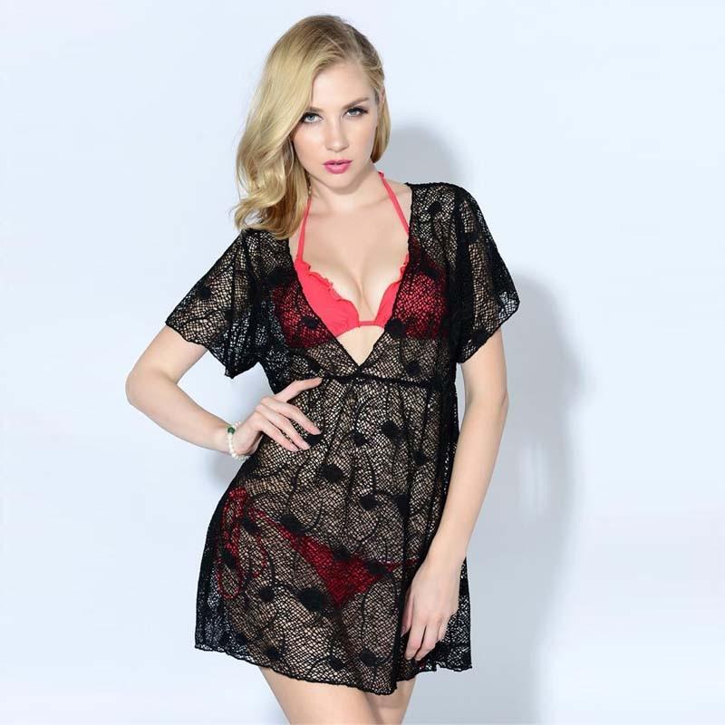 2016 Sexy Mesh Hollow Out Cover Ups Deep V Neck Beach Dress For Women Girl Swimwear