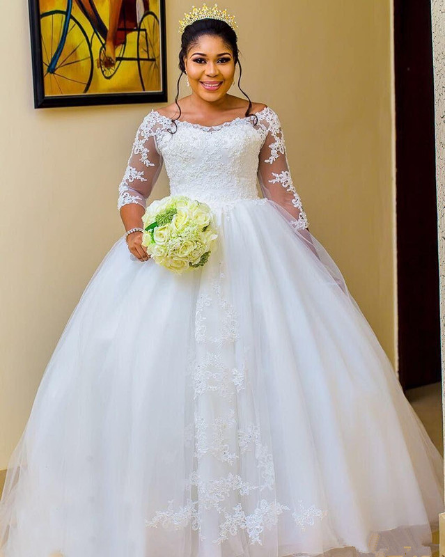 Big Offer Luxury Princese Nigeria 3 4 Sleeve Ball Gown Plus Size Wedding Dresses 2020 Lace Girls Arabic Wedding Gown Vintage Bridal Gowns October 2020,Long Sleeve Non White Wedding Dresses