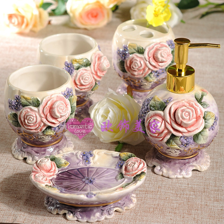 creative purple Rose ceramic toothbrush holder soap dish bathroom accessories set kit crafts room home decor porcelain figurines image