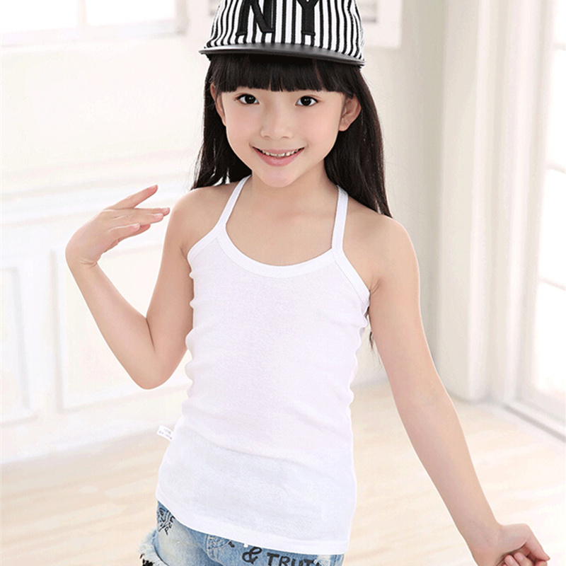 Fashion Cotton Solid Kids Tank Tops Girls Tee Sling Slim Camisole Girl Tank Tops Baby Gi ...