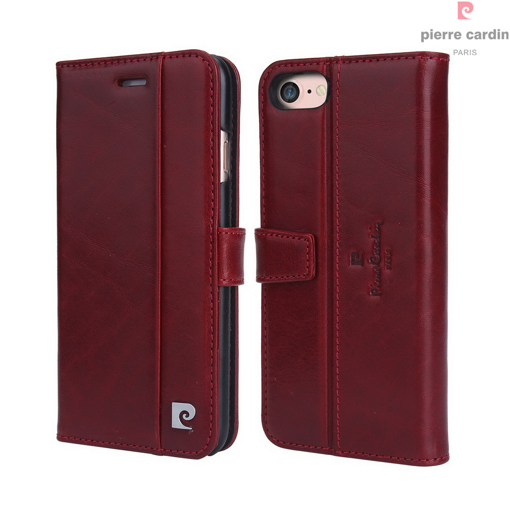 Pierre Cardin Marque Pour Apple iPhone 8 7 Plus coque de téléphone En Cuir Véritable De Style Livre Magnétique Étui Portefeuille porte-carte Couverture - 5
