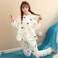Factory Sale New Women Pajamas Suits Lovely Plaid Home Suit Sleepwear Long Sleeve Pyjamas Comfortable Girl
