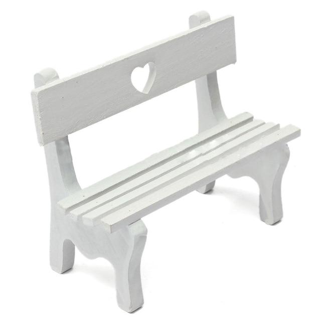 Mini Fairy Garden Wooden Chair Bench Model Wedding Doll House Decor Kids  Gift