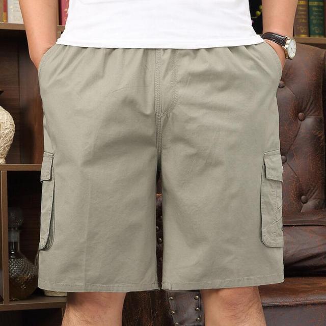 Bonne qualité hommes coton décontracté és nouveaux hommes dété lâche pantalons courts hommes taille élastique genou longueur outillage Shorts taille 5XL