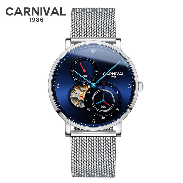 Carnival Men Fashion Business Hollow Out Dial Steel Watchband 3Bar Waterproof Concept Dial Automatic Self-Wind Mechanical Watch купить недорого в Москве
