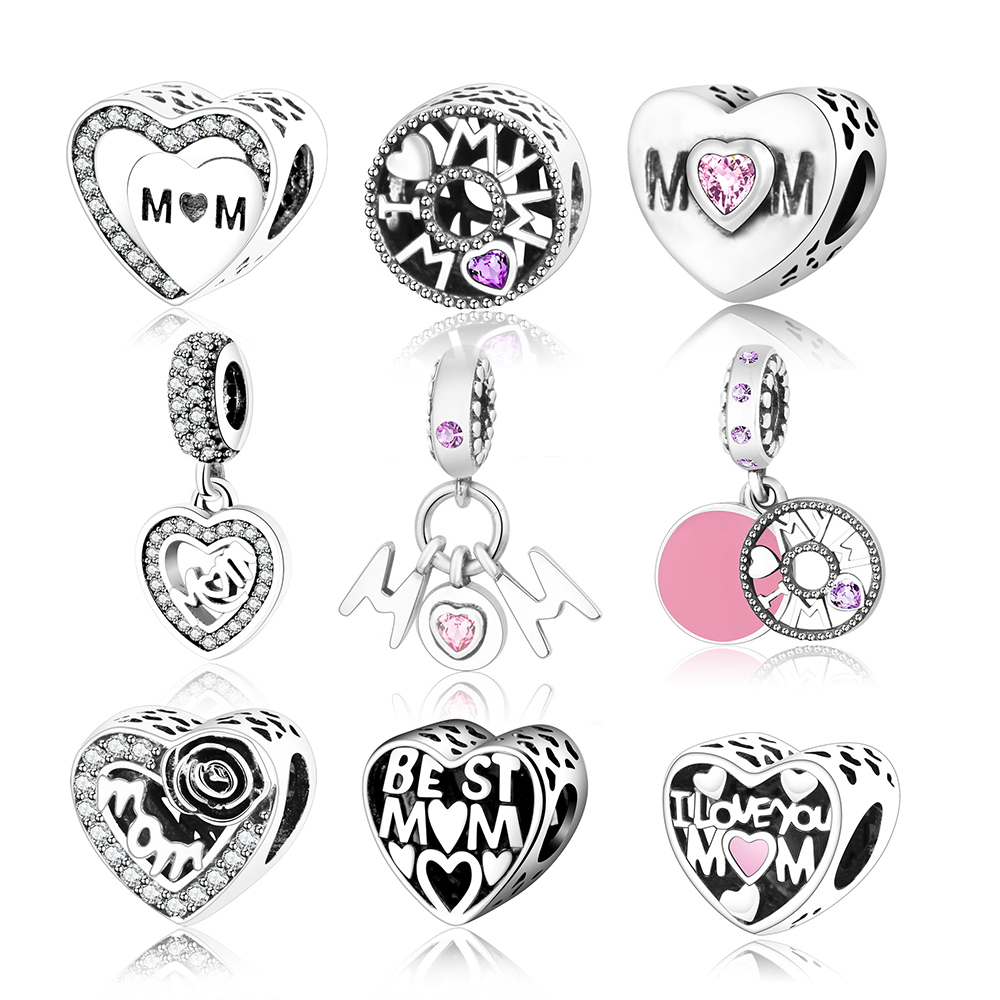 Fit Original Pandora Charms Bracelet 925 Sterling Silver MOM Heart Charm Beads DIY Jewelry Accessory Making Mother Gift berloque