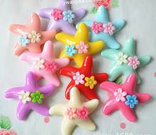 Freeshipping 9color Flat back Resins Artificial Children's flower sea star clip accessories resin diy materials 50pcs/lot(China)
