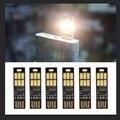 Mini Pocket USB Tarjeta de Potencia 6 LED Llavero Luz de La Noche 1 W 5 V Touch Dimmer Luz Cálida para Banco de la Energía del Ordenador Laptop