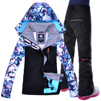 2019 GSOU SNOW Women Ski Jacket Pant Snowboard Suit Skiing Clothing Trouser Windproof Waterproof Thicken Thermal Female Suit Set