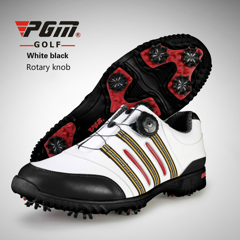Brand PGM Genuine Leather and Microfiber Mens Tour 360 Boa Boost Waterproof Spiked Golf Sports Shoes Pro Tour Steady&Waterproof brand pgm adult mens golf sports shoes anti sideslip technology and waterproof and breathable and light weight golf sneakers
