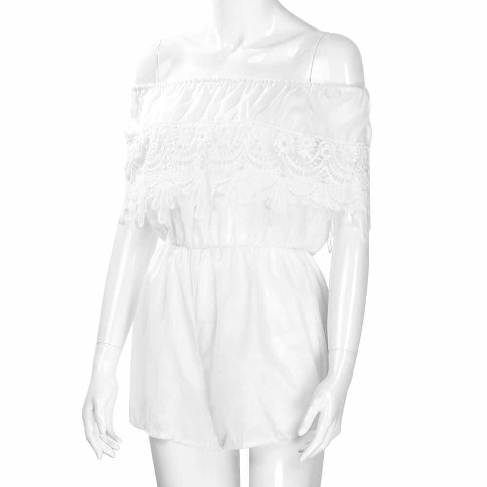 2019 MAXIORILL ผู้หญิงใหม่ปิดไหล่ชีฟองลูกไม้ Playsuit สุภาพสตรี Jumpsuit ฤดูร้อน Beach ClothesWholesale T3