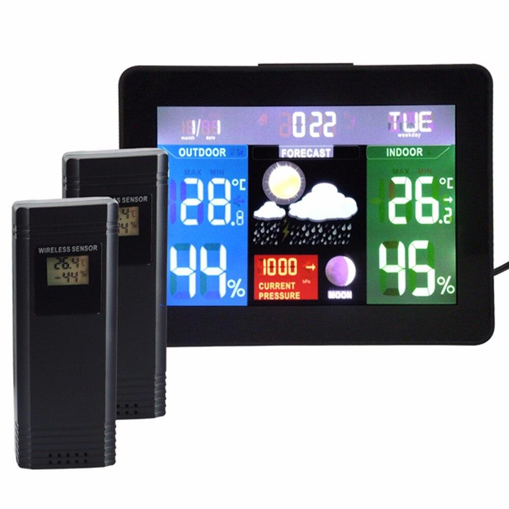 2 беспроводных датчика метеостанция, цветной дисплей радиоуправляемые часы, барометр RH % температура 5 погоды