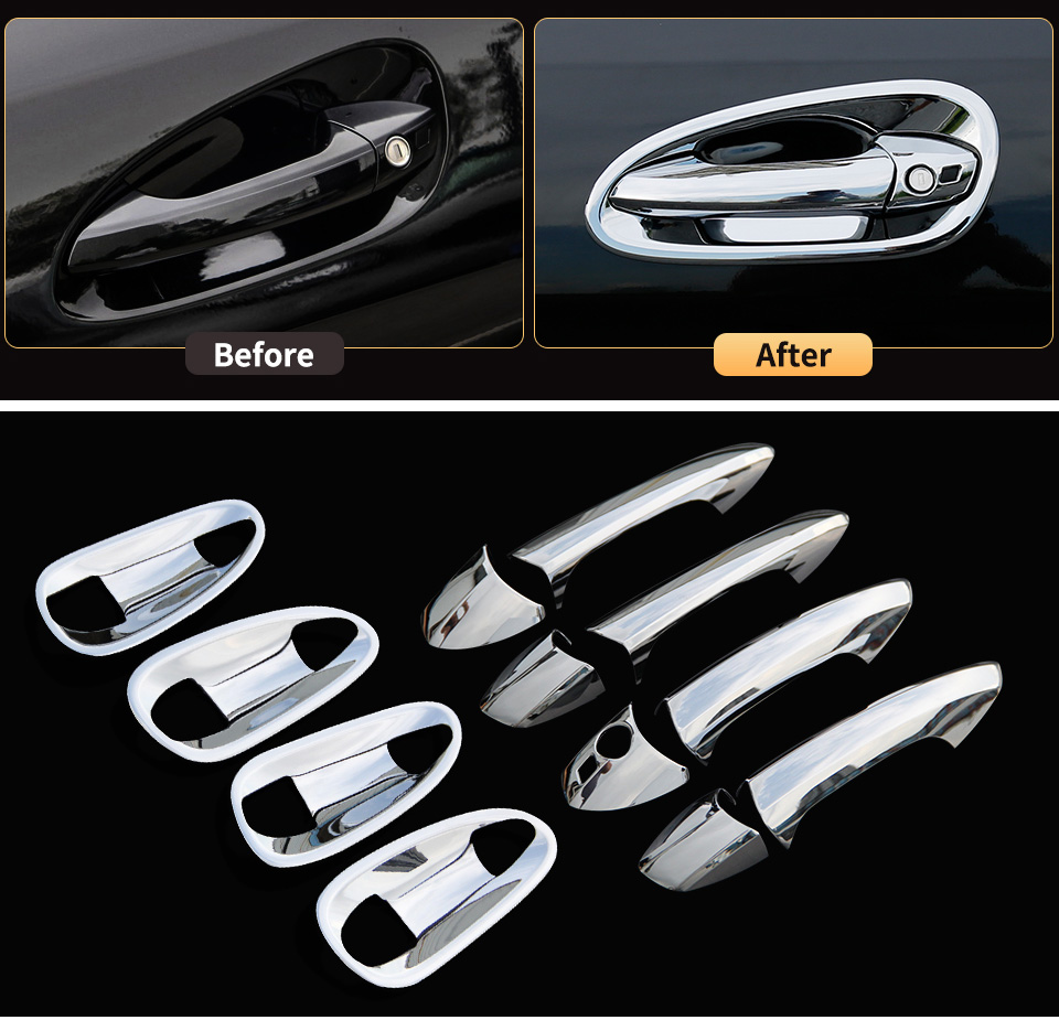 Door Bowl And Handle Protective Stickers Cover Trim for <font><b>Mercedes</b></font> <font><b>Benz</b></font> GLE W166 ML350 2012 350d <font><b>GL</b></font> <font><b>X166</b></font> GLS interior <font><b>Accessories</b></font> image