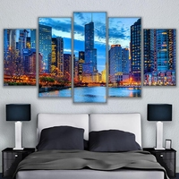 Canvas Wall Art Pictures Home Decor 5 Pieces Chicago City Night View Paintings HD Prints Beautiful