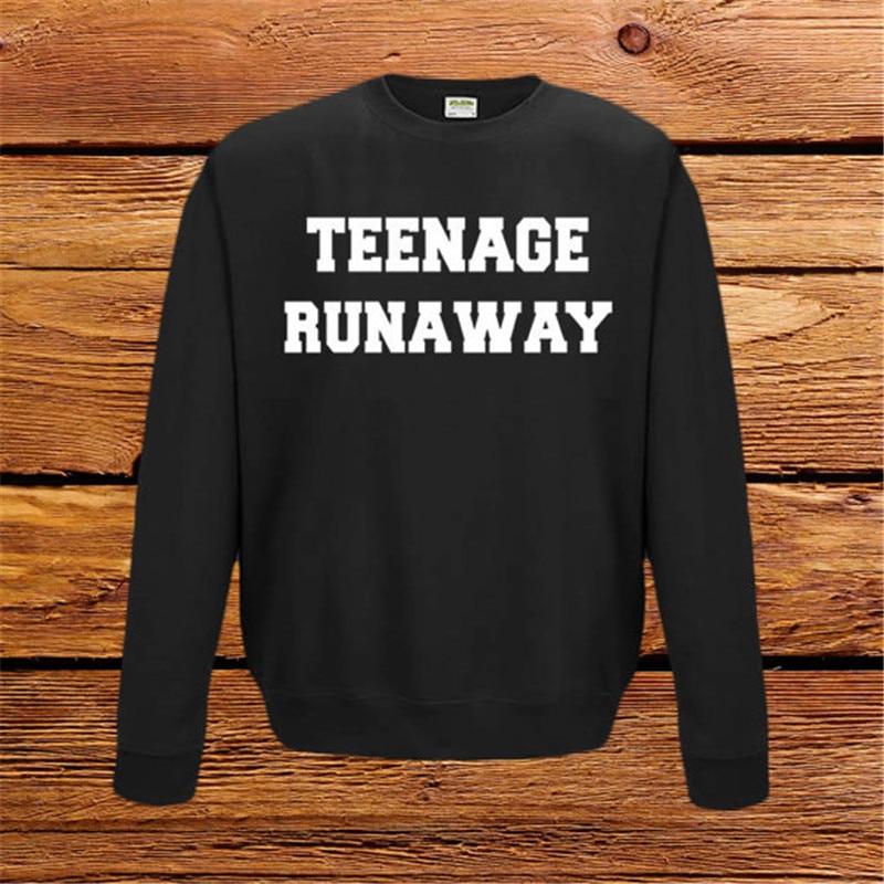 Teenage Runaway Jumper Sweatshirt UNISEX Fashion Tumblr Top Ultra Soft Crew-Neck Sweatshirt Black Gray Fashion Tee Top F50056