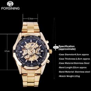 Image 5 - FORSINING Reloj Automático para hombre, relojes mecánicos de esqueleto de lujo, de acero inoxidable dorado, Masculino