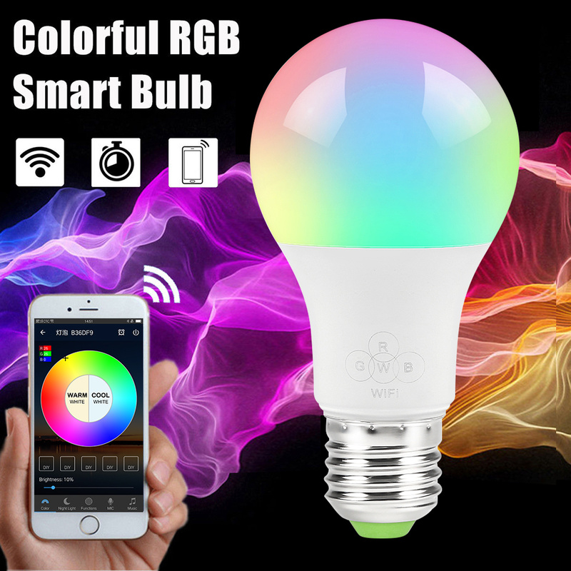 E27 Smart WIFI Bulb RGB RGBW Dimmable LED Bulb Light Bulb Works With Alexa Google Home,16 Million Colours,APP Remote Control
