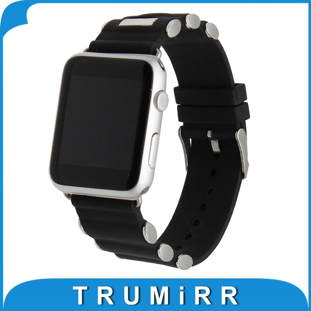 Prix pour Caoutchouc Bracelet En Silicone pour iWatch Apple Watch 38mm 42mm Bande De Remplacement En Acier Inoxydable Boucle Dragonne Bracelet Noir