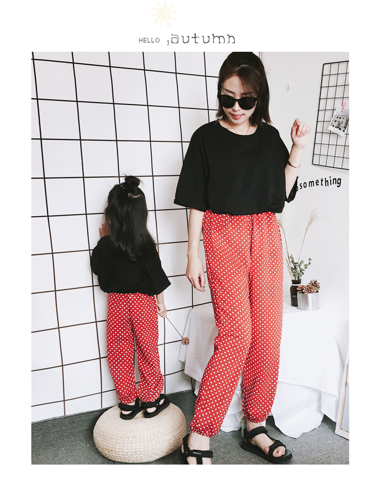 Mother Daughter Clothes 2018 New Summer Baby Girl Lantern Pants Family Look Kids Dot Printed Casual Trousers Pant Mosquito Pants 8