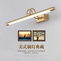 Luminaria Copper Mirror Headlights American Bathroom LED Cabinet Wall Sconce Lamp Nordic Makeup Hanglamp Home Deco Light Fixture