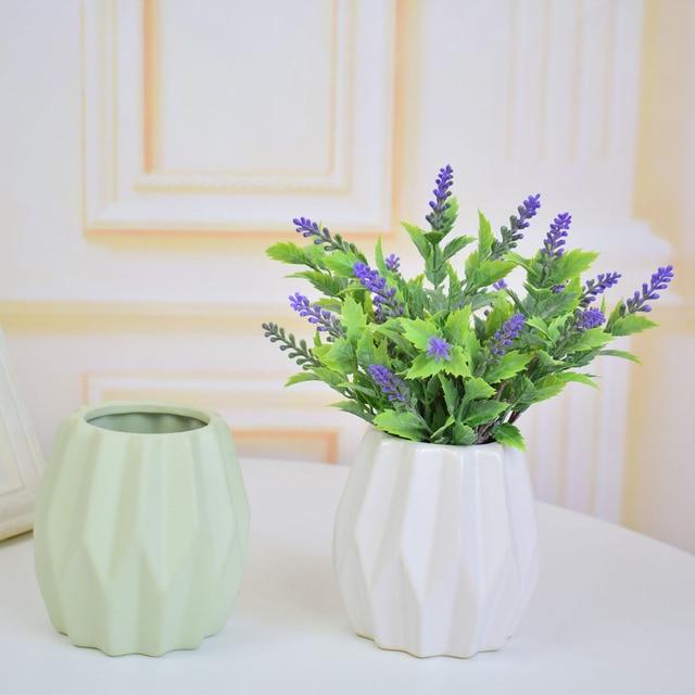 Pequeo cermica moderna flores artificiales florero blanco verde
