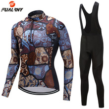 цена на 2019 Pro team Winter Thermal Fleece Cycling jersey Set Long Sleeve Bike Downhill Jersey Bib Pants with Gel Skinsuit MTB Clothes