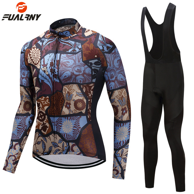 2019 Pro team Winter Thermal Fleece Cycling jersey Set Long Sleeve Bike Downhill Jersey Bib Pants with Gel Skinsuit MTB Clothes
