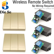 Wall Panel Bulb Wireless Switch Remote Control AC 85V~250V 3 Gang for LED/ Lamp/ Bulb/ Door/ Light No wiring required