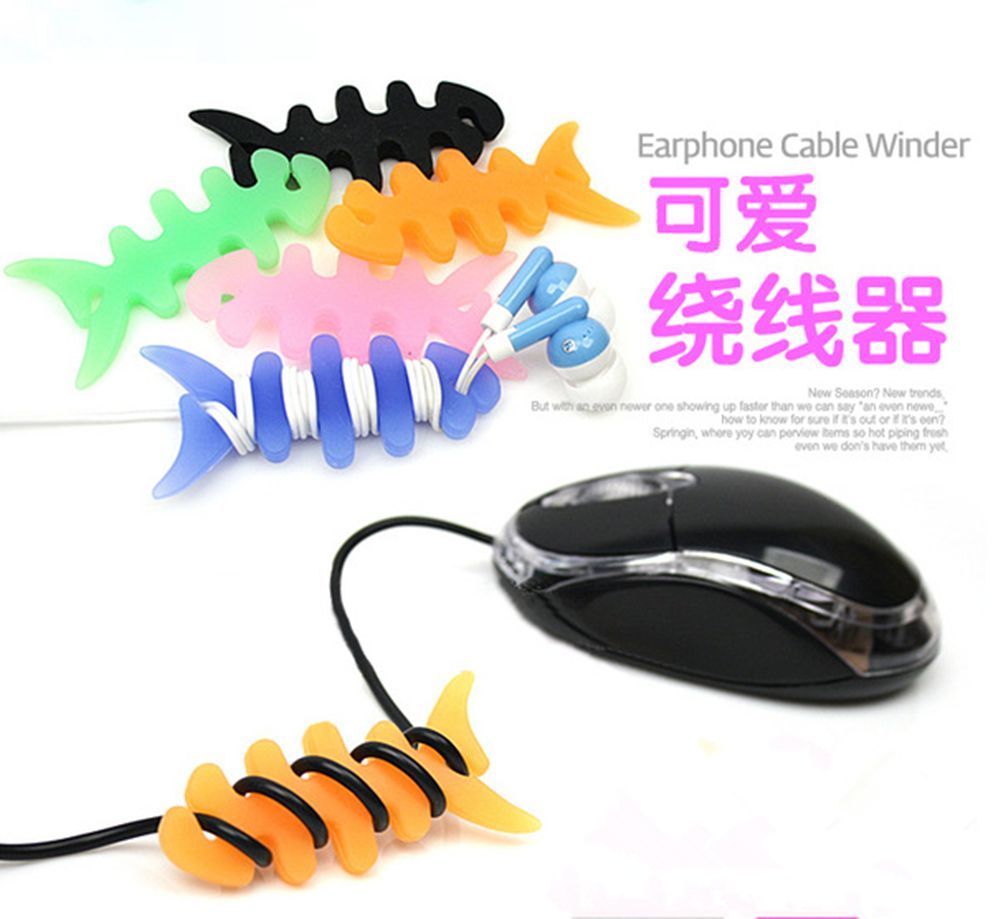 Fish Bone Earphone Cable Winder Headphone Cord Wire Wrap Holder Organizer A01 YGRXQ