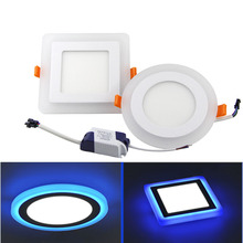 3 Models LED Panel Downlight 6w 9w 16w Round/Square Double Color LED Ceiling Recessed Panel Light AC85-265V