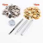 UESH- 15pcs silver + 15 pcs golden 15mm Snap Button Metal + tool to fix leather for leather goods