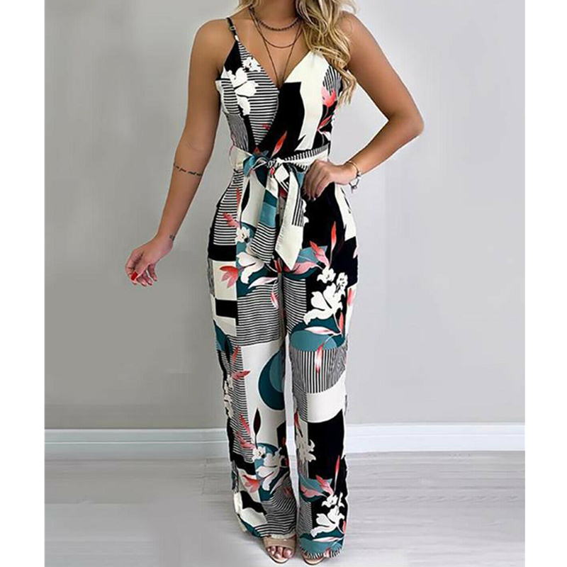 Women Boho Romper Floral Casual Summer Jumpsuit Bodysuit Sleeveless Loose Long Pants Trousers Holiday Beach Female Overall