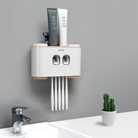 Creative multi function four cup toothbrush holder wash set with double automatic toothpaste toilet facial cleanser storage