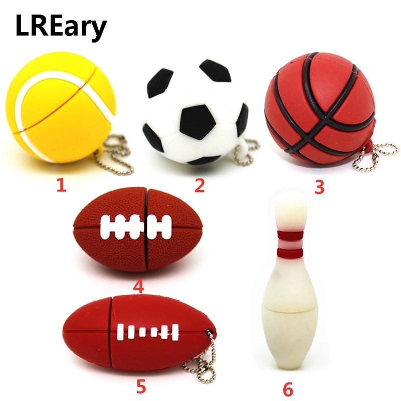 USB 2.0 Flash Drive Football Sports 4GB 8G 16GB Pendrive 32GB 64GB Basketball Model Tennis/Soccer/Bowling Memory Stick Pen Drive