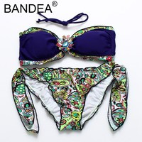 BANDEA Bikinis Women 2017 New Bikini Sexy Strappy Print Wire Free Women Swimsuit Halter Low Waist