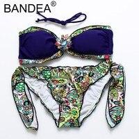 BANDEA Bikinis Women 2017 New Bikini Sexy Strappy Print Wire Free Women Swimsuit Halter Low Waist