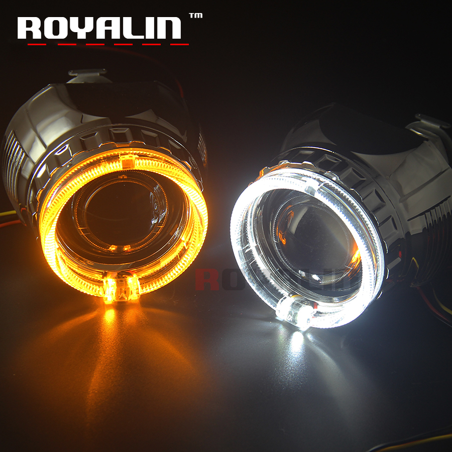 royalin led drl double angel eyes halo rings mini projector lens bi xenon h1 headlight shrouds white red h4 h7 auto lamps diy ROYALIN W2 Bi Xenon H1 Projector Lens 2.5 Mini Halogen Lens LED Angel Eyes Halo Rings Shrouds White Yellow DRL Turn Sign Light
