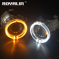 ROYALIN W2 Bi Xenon H1 Projector Lens 2.5 Mini Halogen Lens LED Angel Eyes Halo Rings Shrouds White Yellow DRL Turn Sign Light